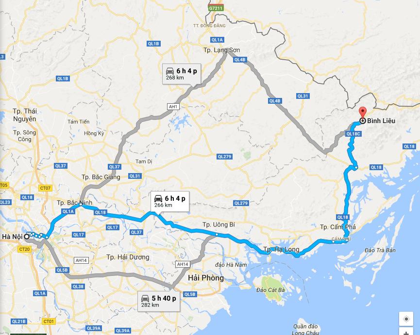 Đường đi Bình Liêu từ Hà Nội